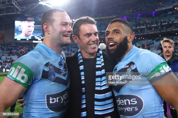 Boyd Cordner Blues coach Brad Fittler and Josh AddoCarr of the Blues celebrates victory during game two of the State of Origin series between the New...