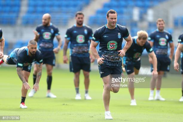 Boyd Cordner leads the team during the New South Wales Blues State of Origin training session at Cbus Super Stadium on July 11 2017 in Gold Coast...