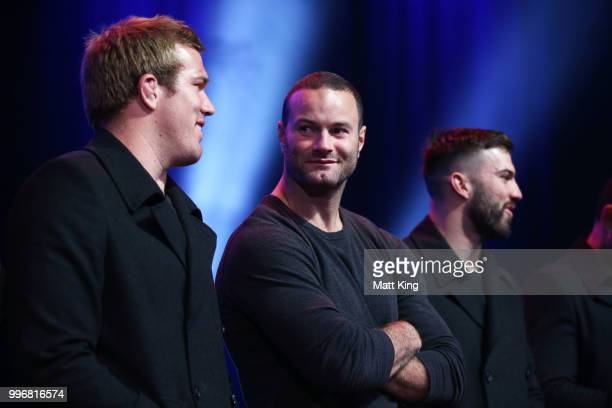 Boyd Cordner looks on during a New South Wales Blues public reception after winning the 2018 State of Origin series at The Star on July 12 2018 in...