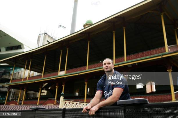 Boyd Cordner looks on during a Sydney Roosters NRL training session at the Sydney Cricket Ground on September 16, 2019 in Sydney, Australia.