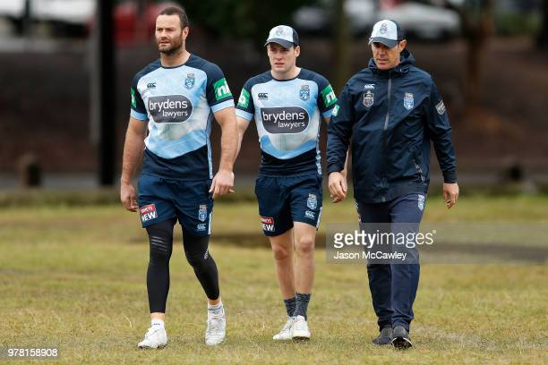 Boyd Cordner Luke Keary and Brad Fittler head coach of the Blues during a New South Wales Blues State of Origin training session at Moore Park on...