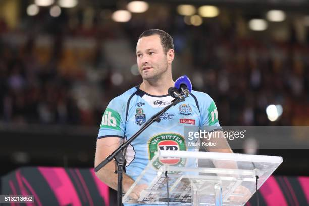 Boyd Cordner of the Blues addresses the crowd after game three of the State Of Origin series between the Queensland Maroons and the New South Wales...