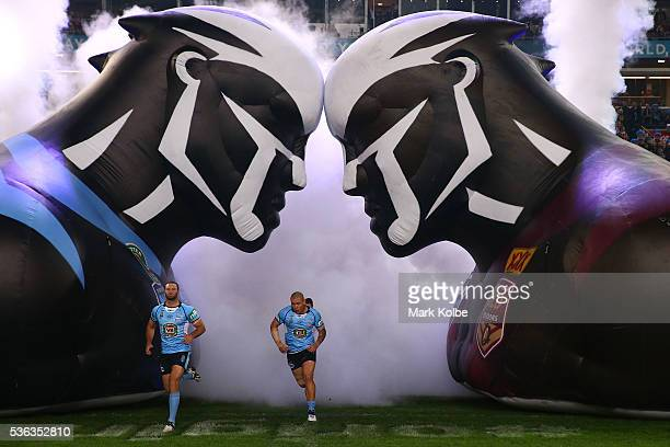 Boyd Cordner of the Blues and David Klemmer of the Blues run onto the field during game one of the State Of Origin series between the New South Wales...