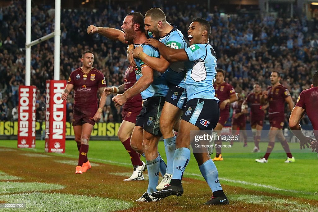 Boyd Cordner of the Blues celebrates scoring a try during game one of the State Of Origin series between the New South Wales Blues and the Queensland Maroons at ANZ Stadium on June 1, 2016 in Sydney, Australia.