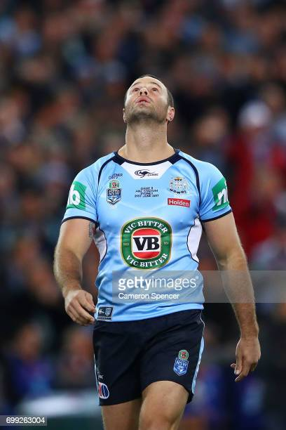 Boyd Cordner of the Blues reacts before game two of the State Of Origin series between the New South Wales Blues and the Queensland Maroons at ANZ...
