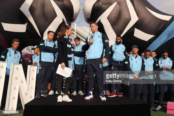 Boyd Cordner of the Blues speaks to the crowd during a New South Wales Blues State of Origin Media Opportunity at Luna Park on June 3 2018 in...