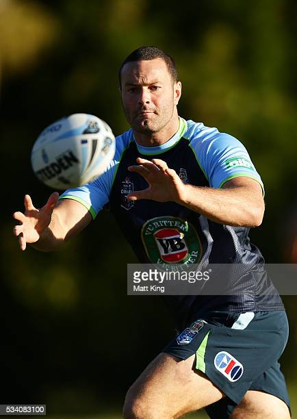 Boyd Cordner of the Blues takes a pass during a New South Wales Blues State of Origin training session on May 25 2016 in Coffs Harbour Australia