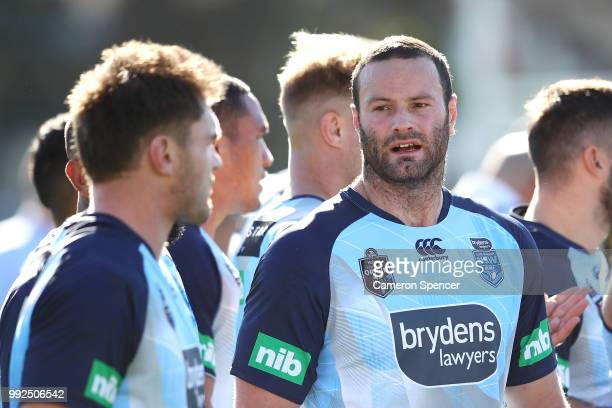 Boyd Cordner of the Blues talks to team mates during a New South Wales Blues State of Origin training session at Coogee Oval on July 6 2018 in Sydney...