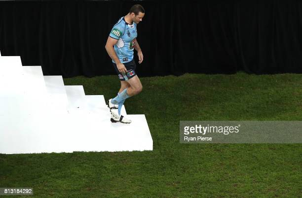 Boyd Cordner of the Blues walks from the stage after game three of the State Of Origin series between the Queensland Maroons and the New South Wales...