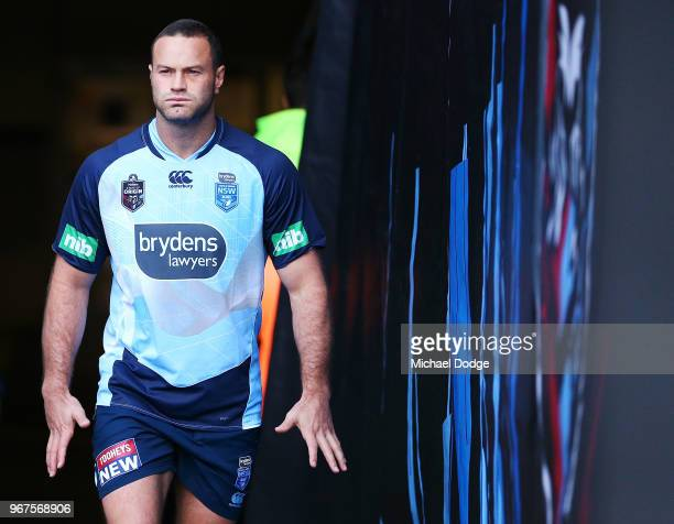 Boyd Cordner of the Blues walks out during a New South Wales Blues State of Origin Captain's Run at the Melbourne Cricket Ground on June 5 2018 in...