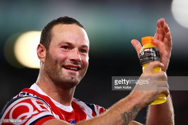 Boyd Cordner of the Roosters acknowledges the crowd after victory during the NRL Preliminary Final match between the Sydney Roosters and the South...
