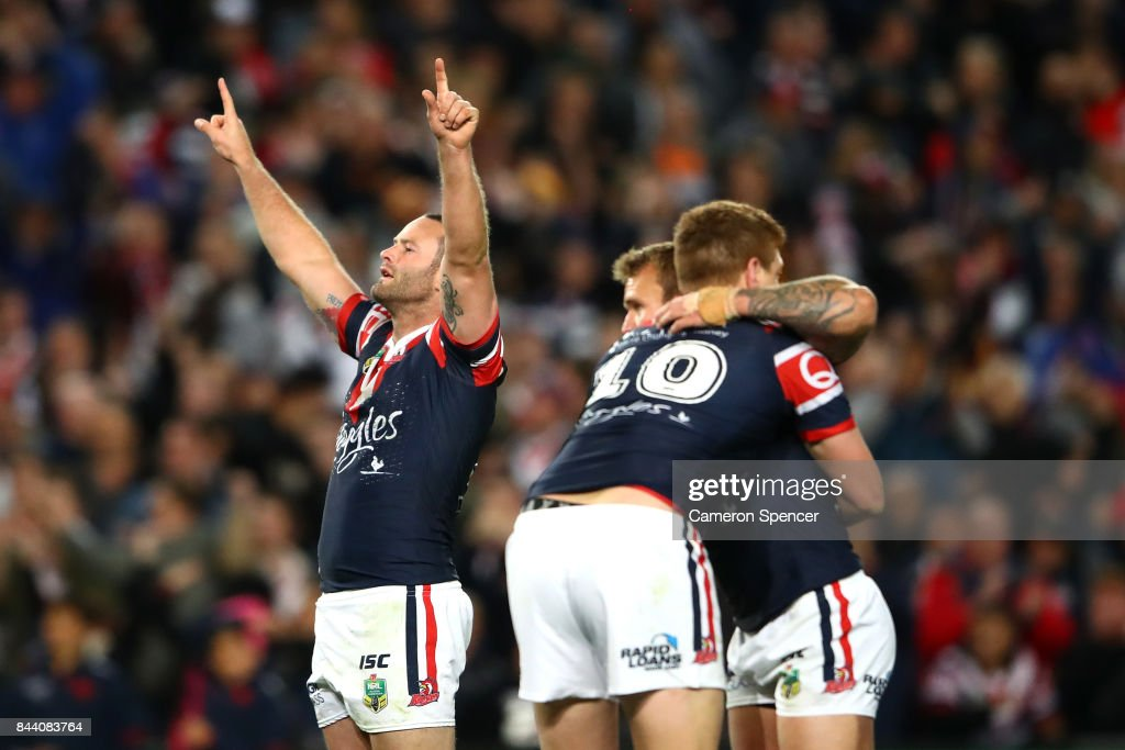 Boyd Cordner of the Roosters and team mates celebrate winning the NRL Qualifying Final match between the Sydney Roosters and the Brisbane Broncos at Allianz Stadium on September 8, 2017 in Sydney, Australia.