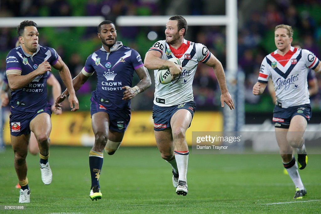 Boyd Cordner of the Roosters breaks the line during the round 20 NRL match between the Melbourne Storm and the Sydney Roosters at AAMI Park on July 23, 2016 in Melbourne, Australia.