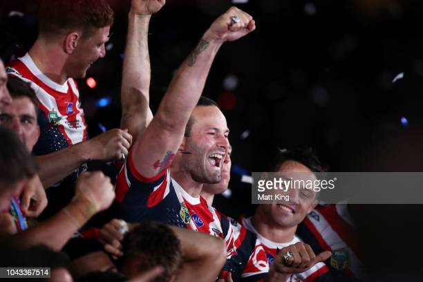 Boyd Cordner of the Roosters celebrates victory with team mates after the 2018 NRL Grand Final match between the Melbourne Storm and the Sydney...