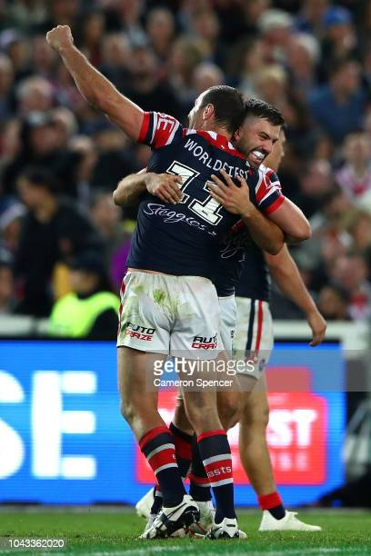 Boyd Cordner of the Roosters celebrates winning the 2018 NRL Grand Final match between the Melbourne Storm and the Sydney Roosters at ANZ Stadium on...