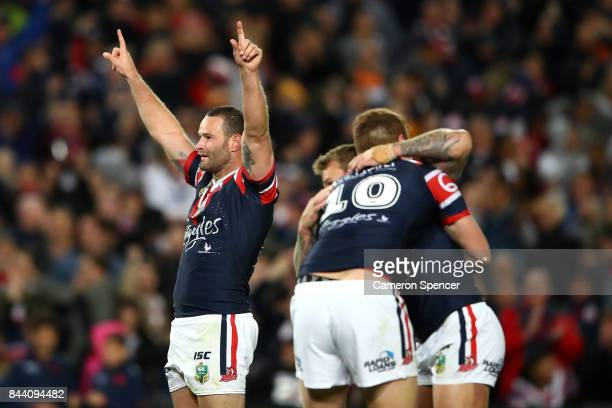 Boyd Cordner of the Roosters celebrates winning the NRL Qualifying Final match between the Sydney Roosters and the Brisbane Broncos at Allianz...