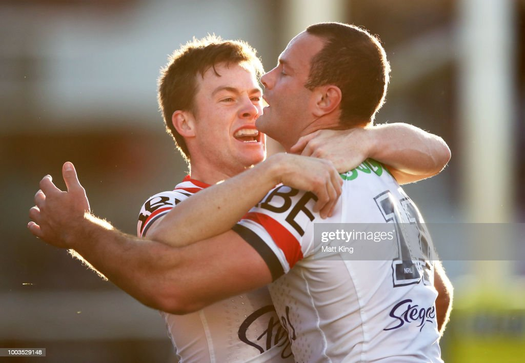 Boyd Cordner of the Roosters (R) celebrates with Luke Keary (L) after scoring a try during the round 19 NRL match between the Manly Sea Eagles and the Sydney Roosters at Lottoland on July 22, 2018 in Sydney, Australia.