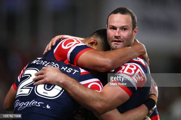 Boyd Cordner of the Roosters celebrates with team mates during the NRL Preliminary Final match between the Sydney Roosters and the South Sydney...