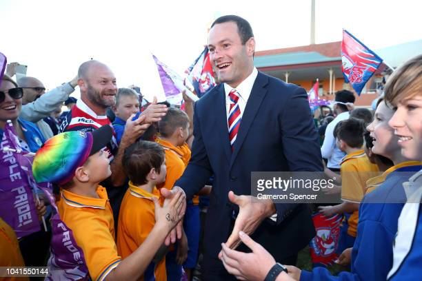 Boyd Cordner of the Roosters is welcomed by fans during the 2018 NRL Fan Day at the Entertainment Quarter on September 27 2018 in Sydney Australia