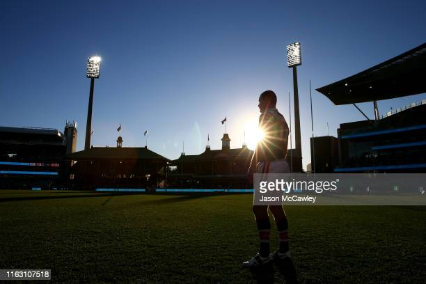Boyd Cordner of the Roosters looks on during the round 18 NRL match between the Sydney Roosters and the Newcastle Knights at Sydney Cricket Ground on...