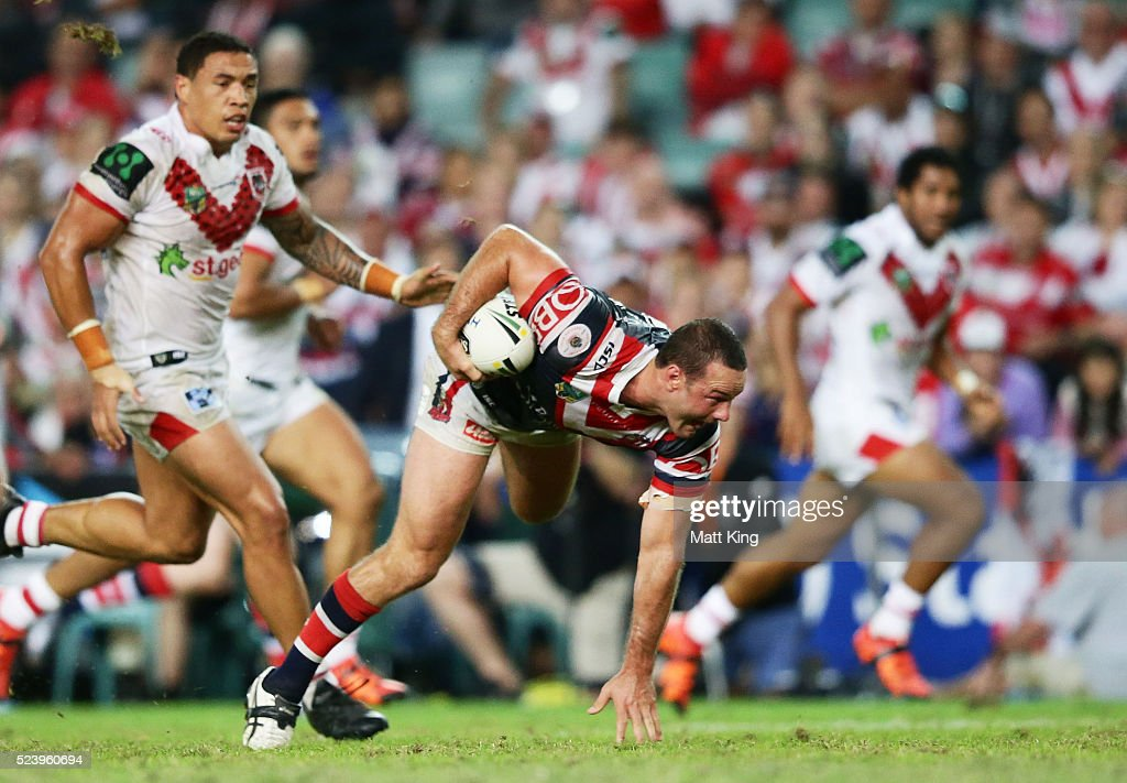 Boyd Cordner of the Roosters makes a break during the round eight NRL match between the St George Illawarra Dragons and the Sydney Roosters at Allianz Stadium on April 25, 2016 in Sydney, Australia.
