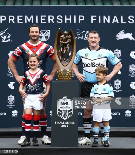 Boyd Cordner of the Sydney Roosters and Paul Gallen of the Cronulla Sharks pose during the 2018 NRL Finals Series Launch at Allianz Stadium on...