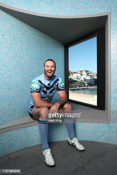 Boyd Cordner poses during a New South Wales Blues State of Origin media opportunity at North Bondi Surf Club on May 27, 2019 in Sydney, Australia.