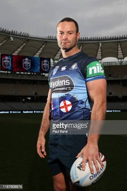 Boyd Cordner poses during a New South Wales Blues State of Origin captain's run at Optus Stadium on June 22, 2019 in Perth, Australia.