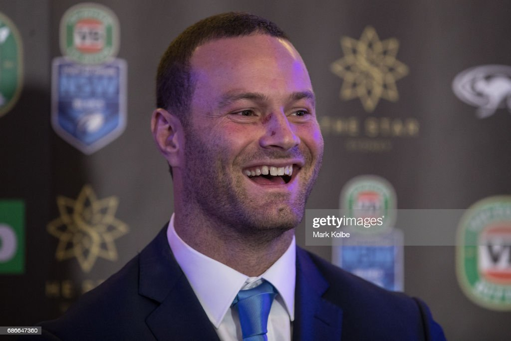 Boyd Cordner speaks to the media after his announcement as the Blues captain during the New South Wales State of Origin team announcement at The Star on May 22, 2017 in Sydney, Australia.