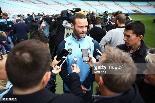 Boyd Cordner speaks to the media during the New South Wales Blues State of Origin Team Announcement at ANZ Stadium on July 2 2018 in Sydney Australia
