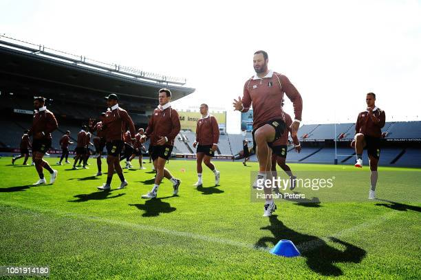 Boyd Cordner warms up during an Australian Kangaroos training session at Eden Park on October 12, 2018 in Auckland, New Zealand.
