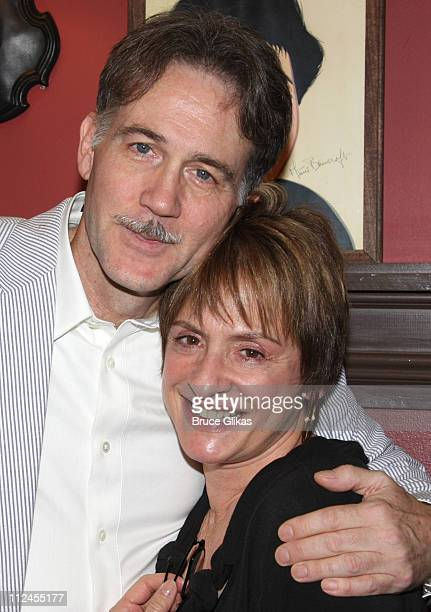 Boyd Gaines and Patti LuPone pose while Boyd Gaines receives his caricature on the Broadway Hall of Fame at Sardi's on July 31 2008 in New York City