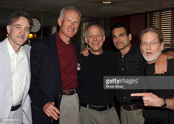 Boyd Gaines James Rebhorn Mark Blum Matte Osian and Robert Foxworth pose while Boyd Gaines received his caricature on the Broadway Hall of Fame at...