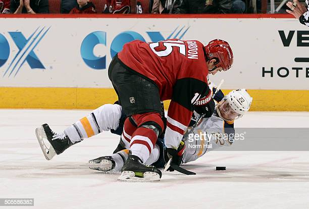 Boyd Gordon of the Arizona Coyotes checks Johan Larsson of the Buffalo Sabres off the puck during the second period at Gila River Arena on January 18...