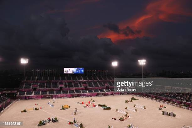 Boyd Martin of Team United States riding Tsetserleg TSF competes during the Eventing Jumping Team Final and Individual Qualifier on day ten of the...
