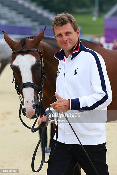 Boyd Martin of the United States and his horse Otis Barbotiere during an Equestrian Eventing Horse Inspection session ahead of the London 2012...