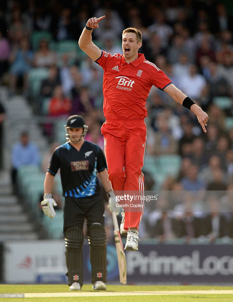 Boyd Rankin of England celebrates dismissing James Franklin of New Zealand during the 1st NatWest International T20 match between England and New Zealand at The Kia Oval on June 25, 2013 in London, England.