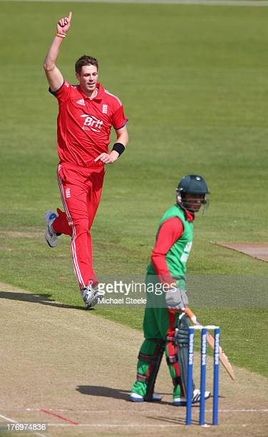 Boyd Rankin of England Lions celebrates taking the wicket of Anamal Haque of Bangladesh A during the One Day International match between England...