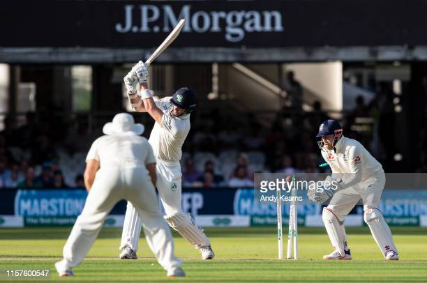 Boyd Rankin of Ireland is bowled by Moeen Ali of England during day one of the Specsavers 1st Test match between England and Ireland at Lord's...