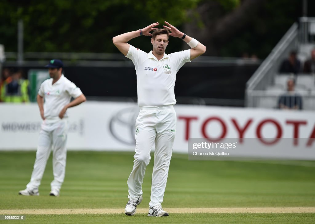 Boyd Rankin of Ireland reacts to Imam ul-Haq's boundary during the fifth day of the international test cricket match between Ireland and Pakistan on May 15, 2018 in Malahide, Ireland.