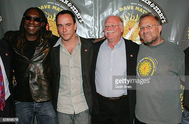 Boyd Tinsley and Dave Matthews of The Dave Matthews Band cofounders of Ben Jerrys Ice Cream Ben Cohen and Jerry Greenfield pose for a photo during a...