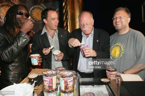 Boyd Tinsley and Dave Matthews of The Dave Matthews Band cofounders of Ben Jerrys Ice Cream Ben Cohen and Jerry Greenfield eat ice cream during a...