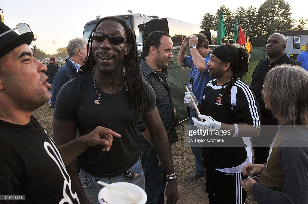 Boyd Tinsley, Dave Matthews and Carter Beauford of Dave Matthews Band backstage at The Odeum during Rothbury 2008 on July 5, 2008 in Rothbury, Michigan.
