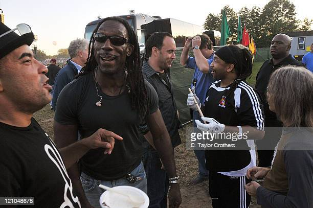 Boyd Tinsley Dave Matthews and Carter Beauford of Dave Matthews Band backstage at The Odeum during Rothbury 2008 on July 5 2008 in Rothbury Michigan