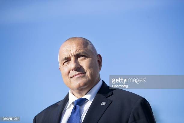 Boyko Borissov Bulgaria's prime minister awaits the arrival of guests for a European Union heads of state dinner at Sofia Tech Park in Sofia Bulgaria...