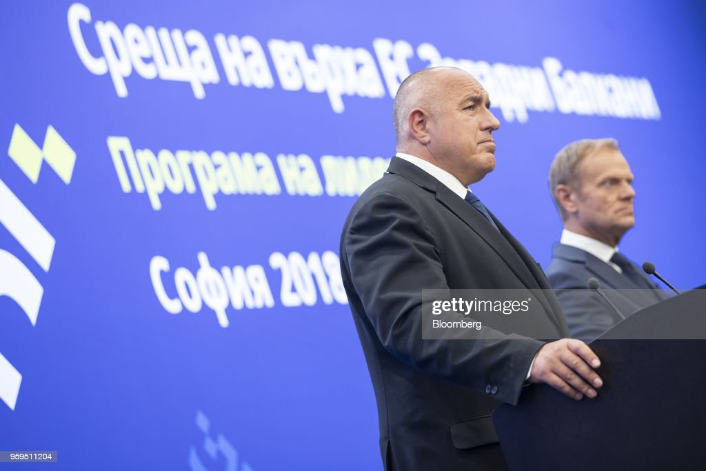 Boyko Borissov, Bulgaria's prime minister, left, pauses as he stands beside Donald Tusk, president of the European Union (EU), during a news conference at a European Union (EU) and Balkan leaders summit in Sofia, Bulgaria, on Thursday, May 17, 2018. EU leaders presented a determined front to stand up to U.S. President Donald Trump's threats to penalize EU businesses and scupper the Iran nuclear deal. Photographer: Jasper Juinen/Bloomberg via Getty Images