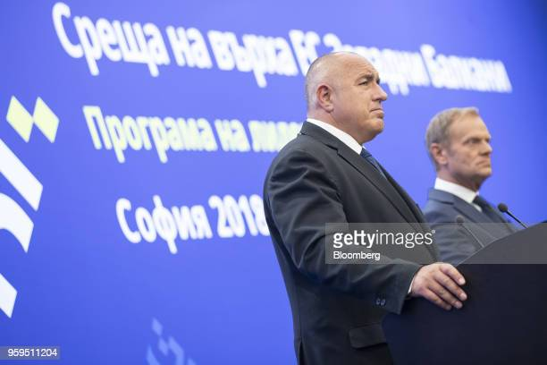 Boyko Borissov Bulgaria's prime minister left pauses as he stands beside Donald Tusk president of the European Union during a news conference at a...