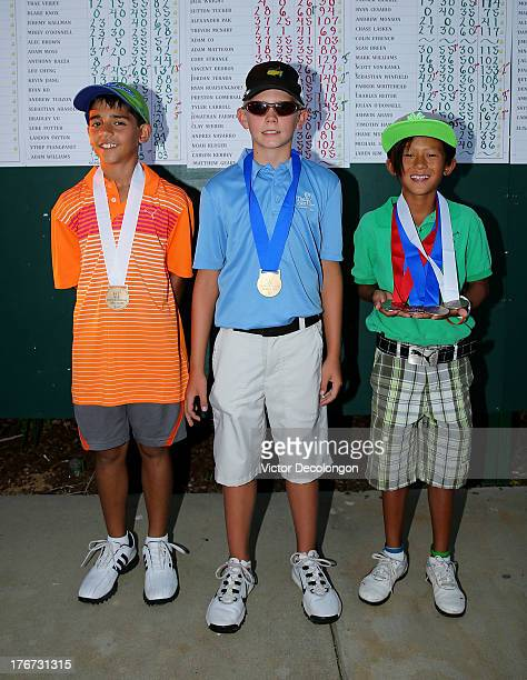 Boys 1011 age group putting contest top three finishers Trae Verjee third place Adam Williams first place and Leo Cheng second place pose for a...