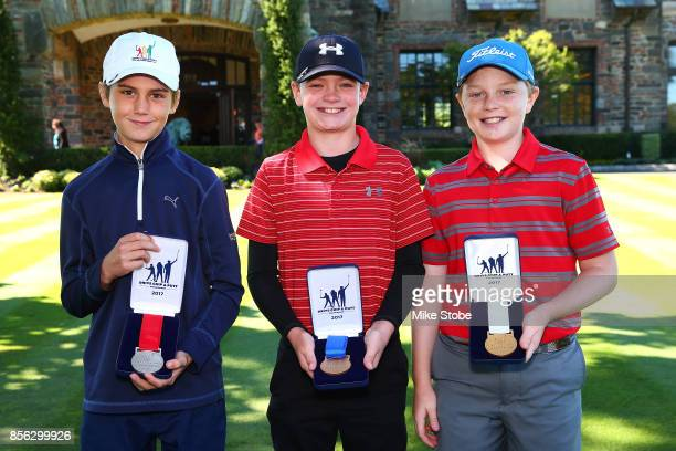 Boys 1011 Gavin Richardson Nicholas Gross and John Hiller pose during the Drive Chip and Putt Championship at Winged Foot Golf Club on October 1 2017...