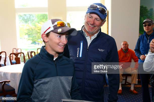Boys 1213 First place winner Lance Hollingshead celebrates during the Drive Chip and Putt Championship at Winged Foot Golf Club on October 1 2017 in...